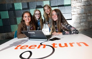*** NO REPRODUCTION FEE *** DUBLIN : Pictured (l-r) were students Shauna Montgomery, Chloe McDonnell and Laura Byrne from Ringsend College with mentor Maria Coyne from Primark. Picture Conor McCabe Photography.