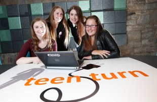 *** NO REPRODUCTION FEE *** DUBLIN : Pictured (l-r) were students Stacey Haide, Natalie Thunder and Chloe Corrigan from St Aidans Community School Tallaght with mentor and user Interface Engineer from Swrve, Nikola Nevin. Picture Conor McCabe Photography.