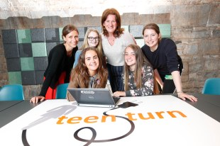 *** NO REPRODUCTION FEE *** DUBLIN : Pictured (l-r) were mentors Dovile Janusauskaite, Laura Murphy and Sophie Sorel from Murex with students Shauna Montgomery, Chloe McDonnell and Laura Byrne from Ringsend College. Picture Conor McCabe Photography.