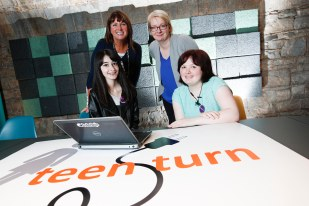 *** NO REPRODUCTION FEE *** DUBLIN : Pictured (l-r) were students Sarah Emilly and Becky O'Mahony from Pobalscoil Iosolde, Palmerstown with mentors Andrea Johson and Chritine Doran from Globoforce. Picture Conor McCabe Photography.
